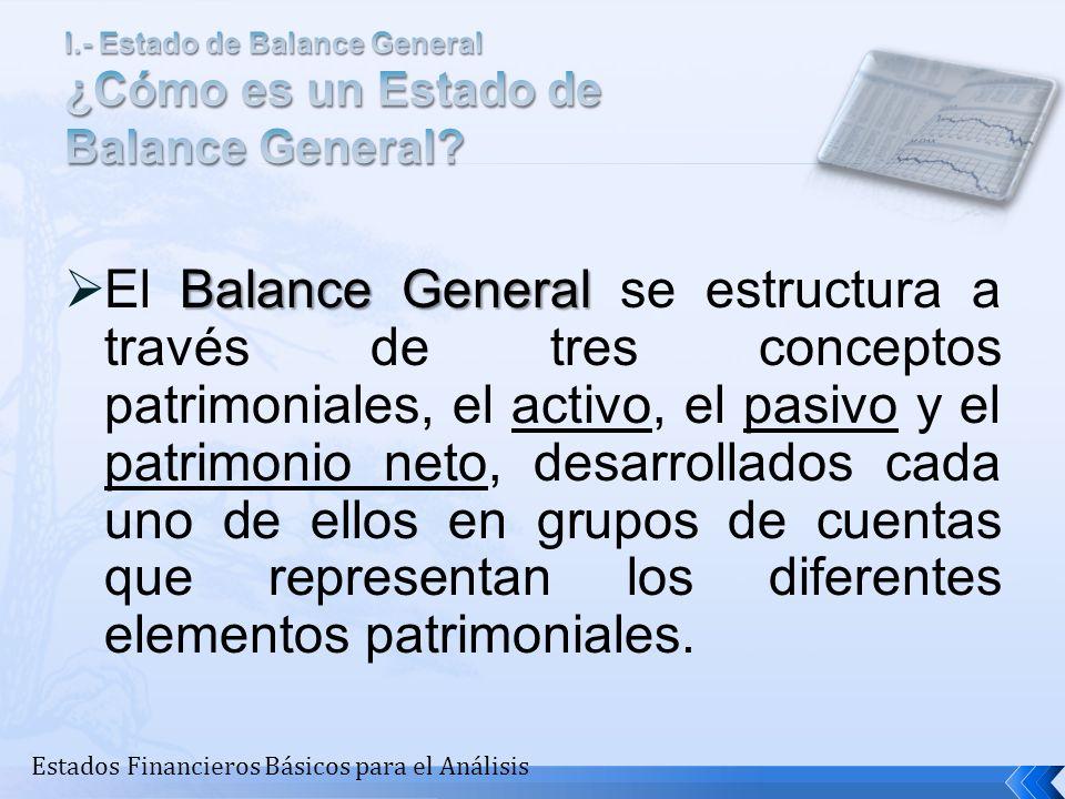 Balance General El Balance General se estructura a través de tres conceptos patrimoniales, el activo, el pasivo y el patrimonio neto, desarrollados ca