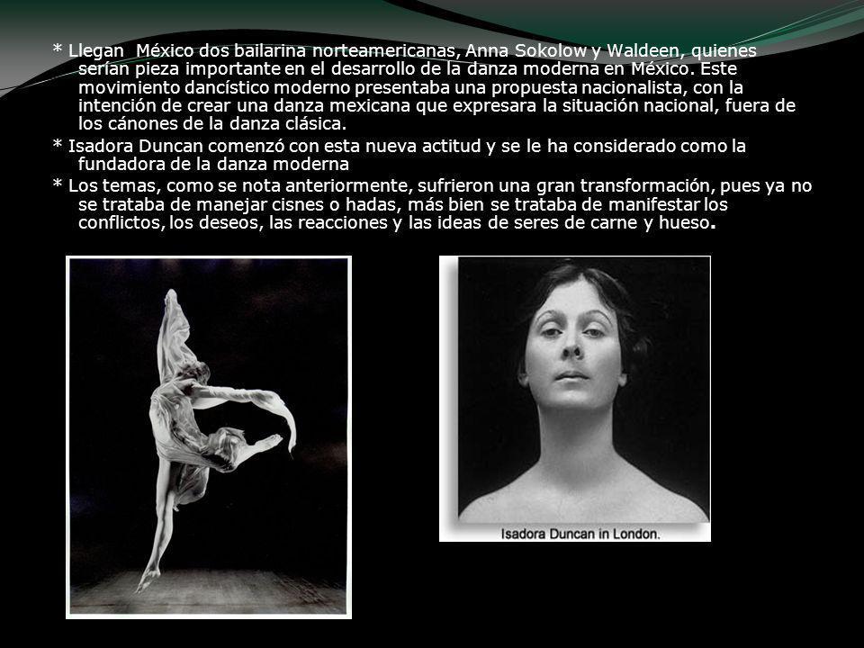 * Llegan México dos bailarina norteamericanas, Anna Sokolow y Waldeen, quienes serían pieza importante en el desarrollo de la danza moderna en México.