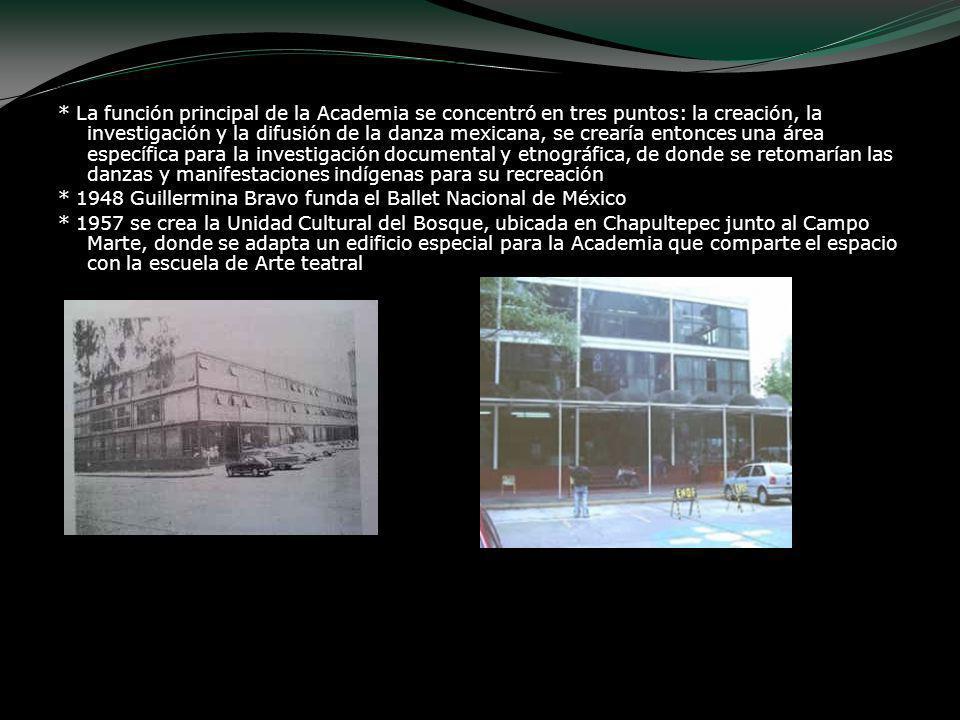 * La función principal de la Academia se concentró en tres puntos: la creación, la investigación y la difusión de la danza mexicana, se crearía entonc
