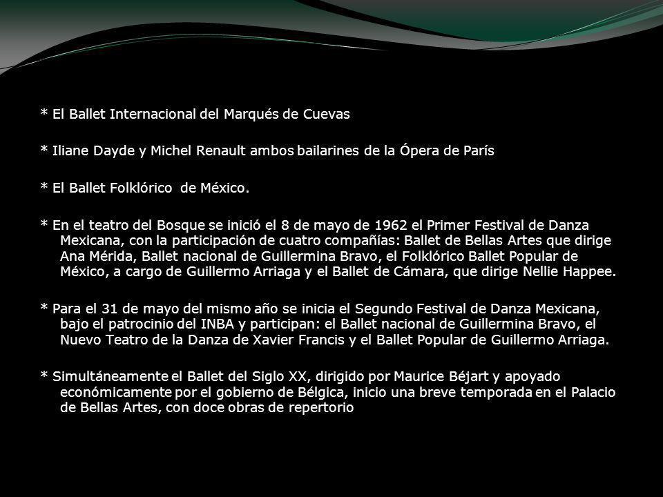 * El Ballet Internacional del Marqués de Cuevas * Iliane Dayde y Michel Renault ambos bailarines de la Ópera de París * El Ballet Folklórico de México
