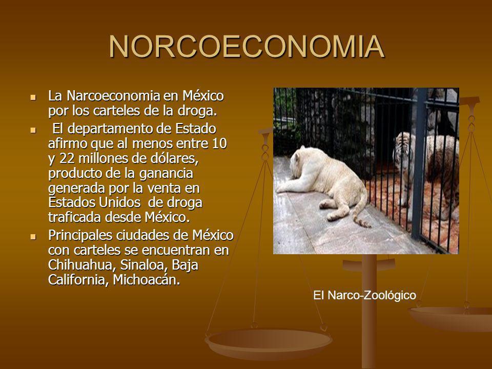 NORCOECONOMIA La Narcoeconomia en México por los carteles de la droga. La Narcoeconomia en México por los carteles de la droga. El departamento de Est