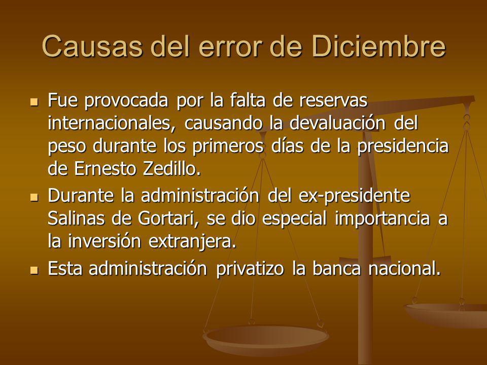 Causas del error de Diciembre Fue provocada por la falta de reservas internacionales, causando la devaluación del peso durante los primeros días de la