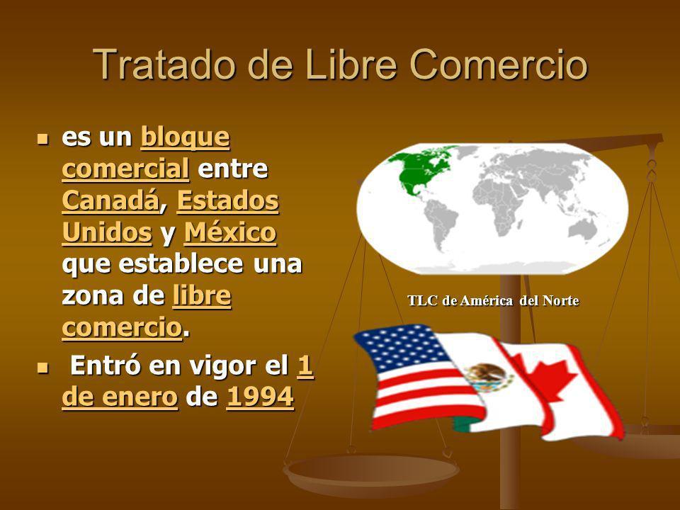 Tratado de Libre Comercio es un bloque comercial entre Canadá, Estados Unidos y México que establece una zona de libre comercio. es un bloque comercia