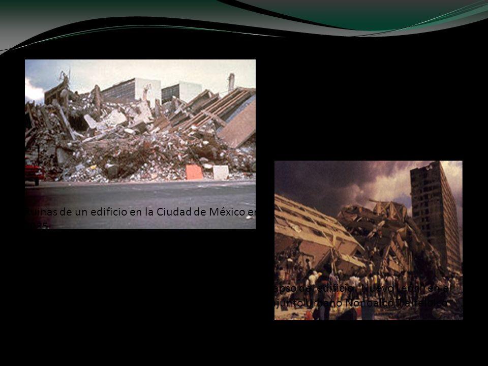 Ruinas de un edificio en la Ciudad de México en 1985 Colapso del edificio