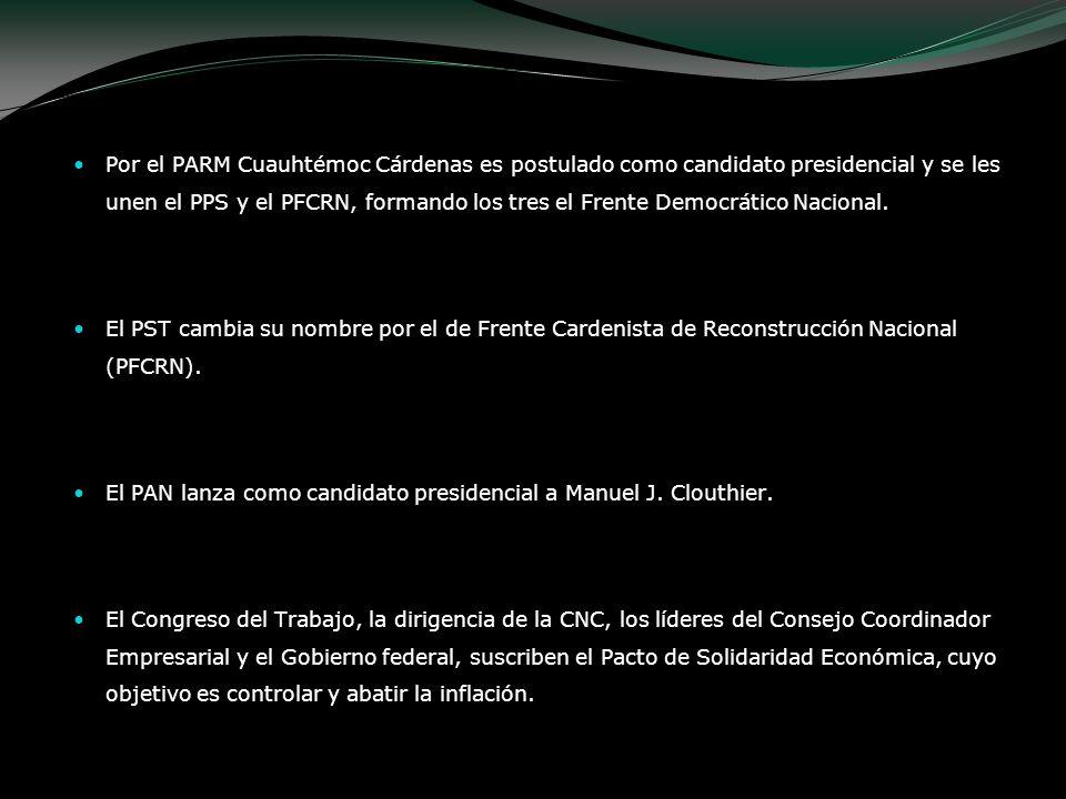 Por el PARM Cuauhtémoc Cárdenas es postulado como candidato presidencial y se les unen el PPS y el PFCRN, formando los tres el Frente Democrático Naci
