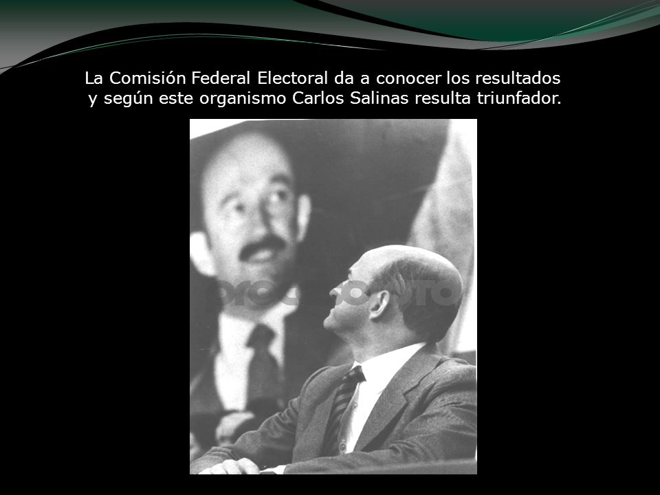 La Comisión Federal Electoral da a conocer los resultados y según este organismo Carlos Salinas resulta triunfador.