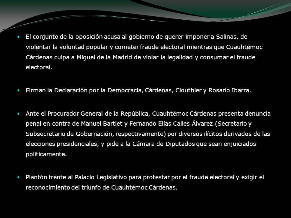 El conjunto de la oposición acusa al gobierno de querer imponer a Salinas, de violentar la voluntad popular y cometer fraude electoral mientras que Cu
