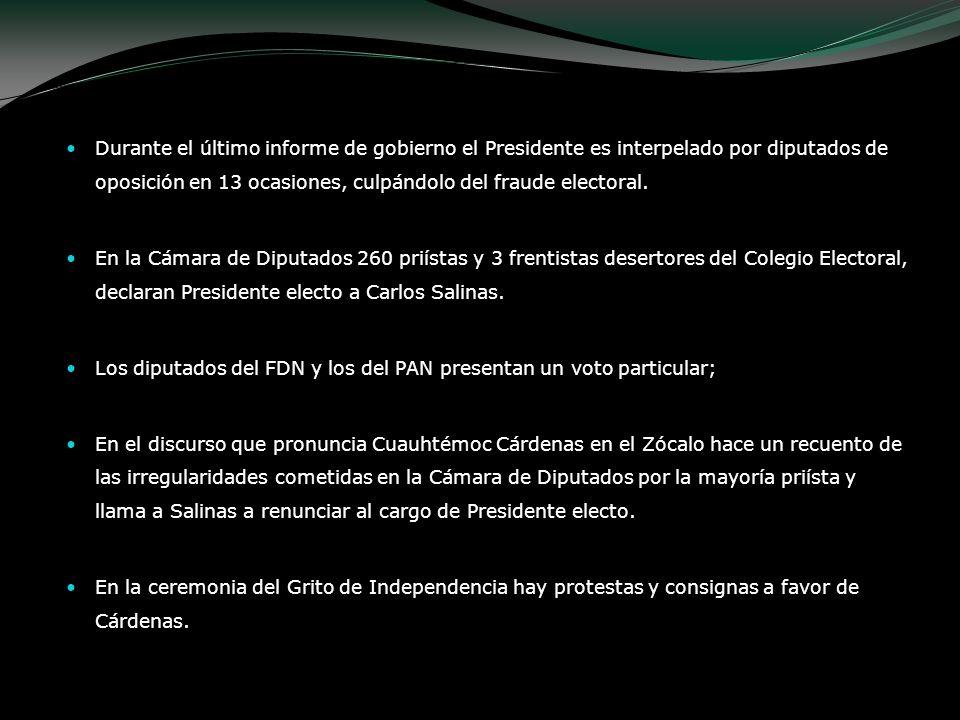 Durante el último informe de gobierno el Presidente es interpelado por diputados de oposición en 13 ocasiones, culpándolo del fraude electoral. En la