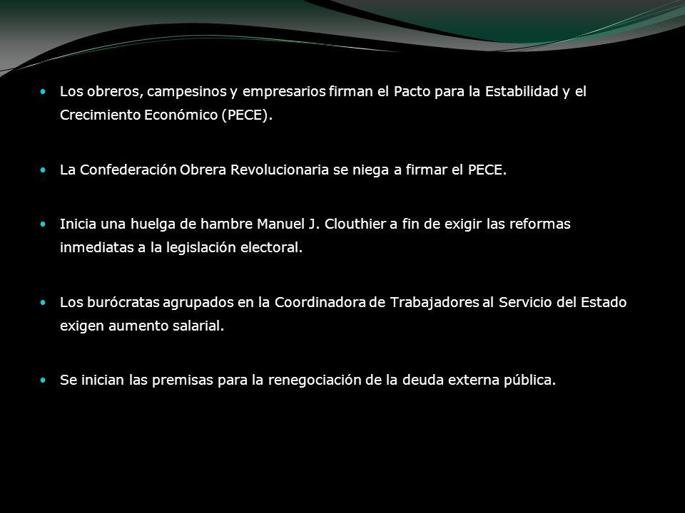Los obreros, campesinos y empresarios firman el Pacto para la Estabilidad y el Crecimiento Económico (PECE). La Confederación Obrera Revolucionaria se
