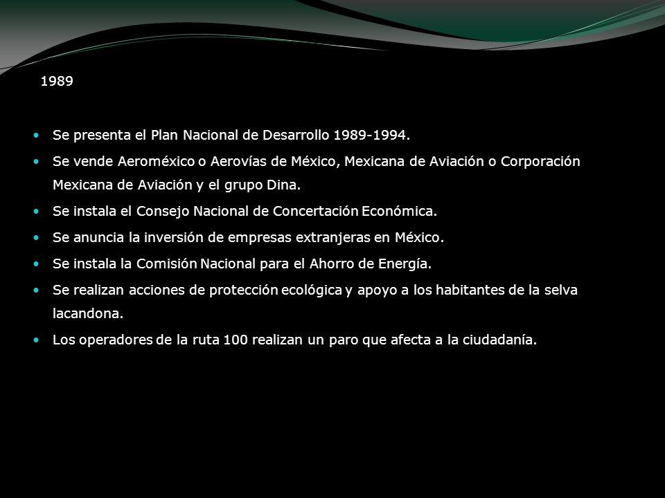 1989 Se presenta el Plan Nacional de Desarrollo 1989-1994. Se vende Aeroméxico o Aerovías de México, Mexicana de Aviación o Corporación Mexicana de Av