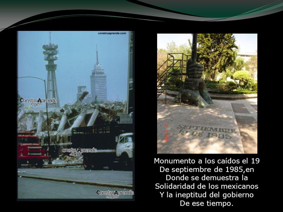 Monumento a los caídos el 19 De septiembre de 1985,en Donde se demuestra la Solidaridad de los mexicanos Y la ineptitud del gobierno De ese tiempo.