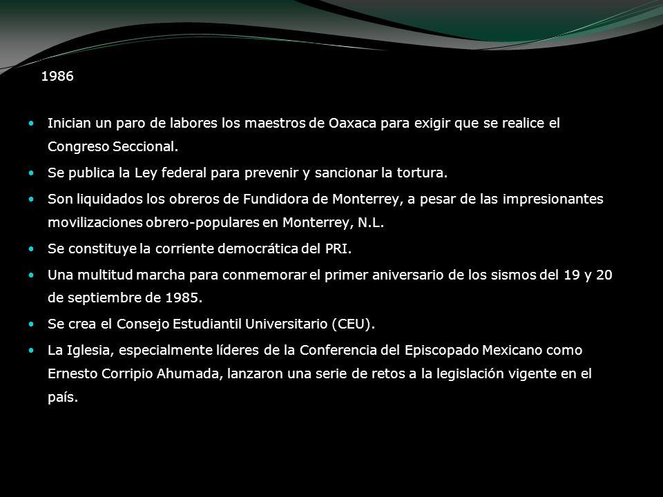1986 Inician un paro de labores los maestros de Oaxaca para exigir que se realice el Congreso Seccional. Se publica la Ley federal para prevenir y san