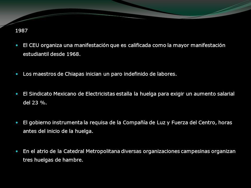 El CEU organiza una manifestación que es calificada como la mayor manifestación estudiantil desde 1968. Los maestros de Chiapas inician un paro indefi