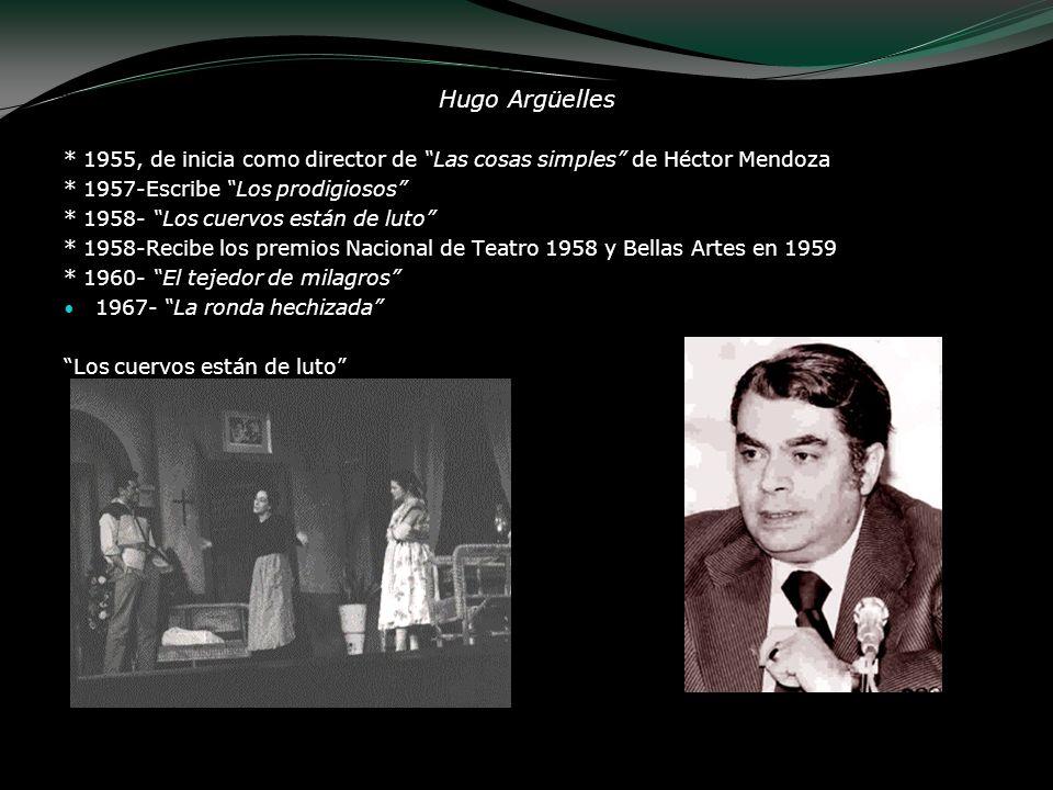Hugo Argüelles * 1955, de inicia como director de Las cosas simples de Héctor Mendoza * 1957-Escribe Los prodigiosos * 1958- Los cuervos están de luto