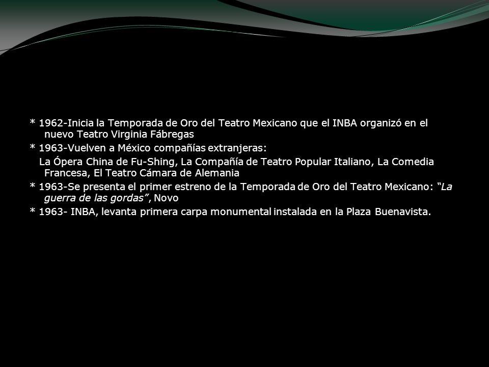 * 1962-Inicia la Temporada de Oro del Teatro Mexicano que el INBA organizó en el nuevo Teatro Virginia Fábregas * 1963-Vuelven a México compañías extr