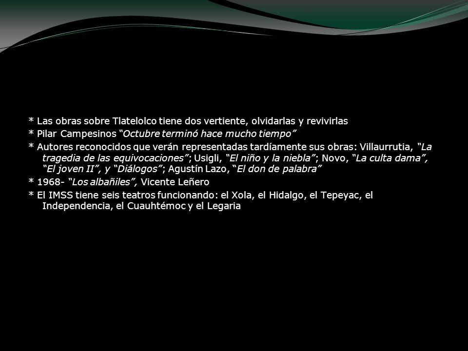 * Las obras sobre Tlatelolco tiene dos vertiente, olvidarlas y revivirlas * Pilar Campesinos Octubre terminó hace mucho tiempo * Autores reconocidos q
