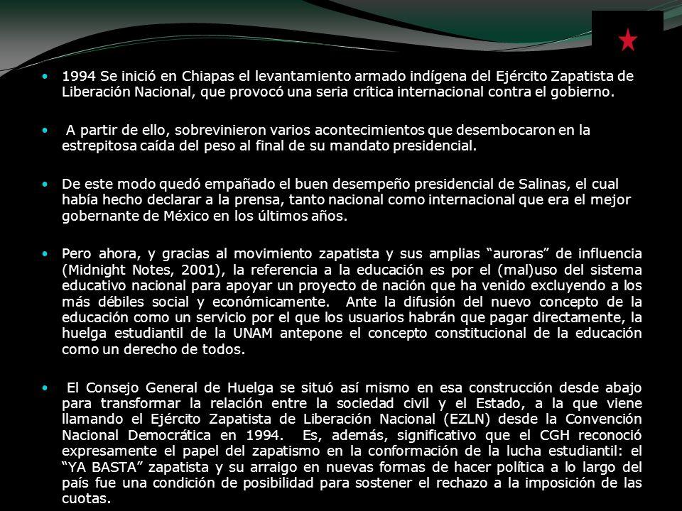 1994 Se inició en Chiapas el levantamiento armado indígena del Ejército Zapatista de Liberación Nacional, que provocó una seria crítica internacional