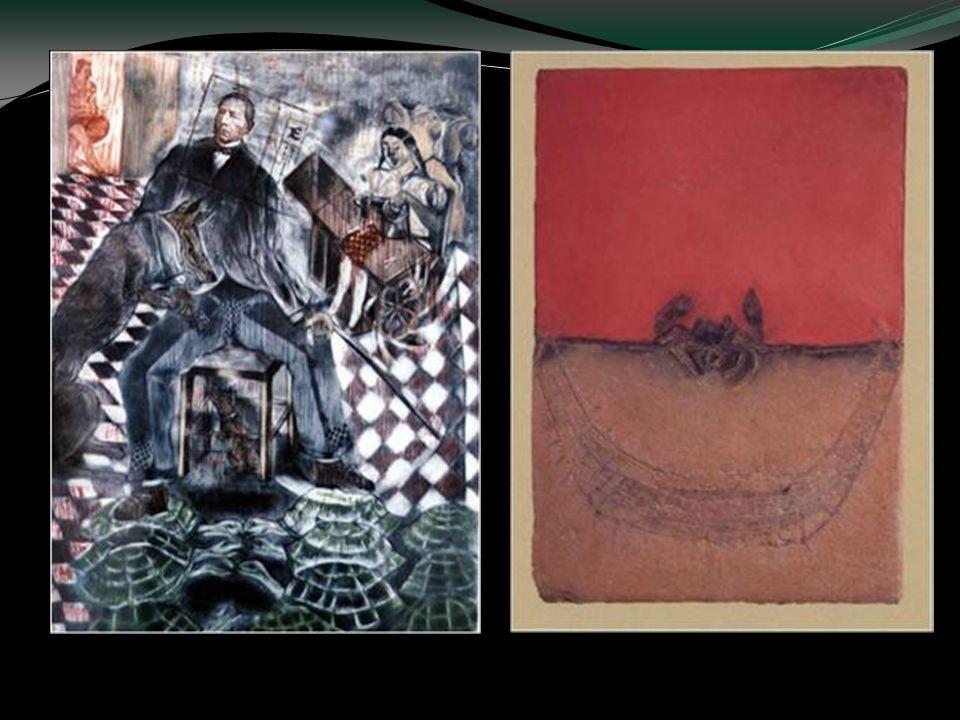 La hamaca del cangrejo, 1988 La Hermana de Juárez cose ajeno, Xilografía, agua fuerte, agua tinta, fotograbado a color. 1984