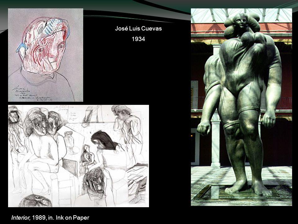 Interior, 1989, in. Ink on Paper Autorretrato, 1982; tinta, pincel, acuarela y crayón sobre papel colibrí. La giganta, bronce, 1991 José Luis Cuevas 1