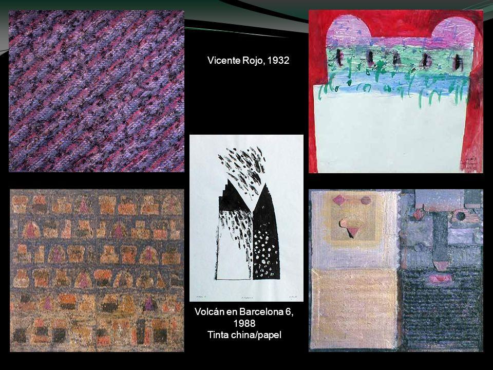 Doble autorretrato (antes y después), 1989 Mixta sobre cartón Códice abierto 1, 1992, Mixta sobre tela México bajo la lluvia, 1986, mixta/telaVolcán e
