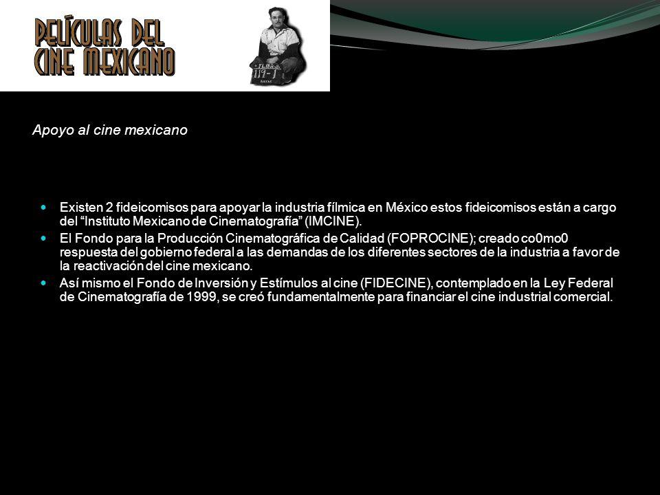 Apoyo al cine mexicano Existen 2 fideicomisos para apoyar la industria fílmica en México estos fideicomisos están a cargo del Instituto Mexicano de Ci