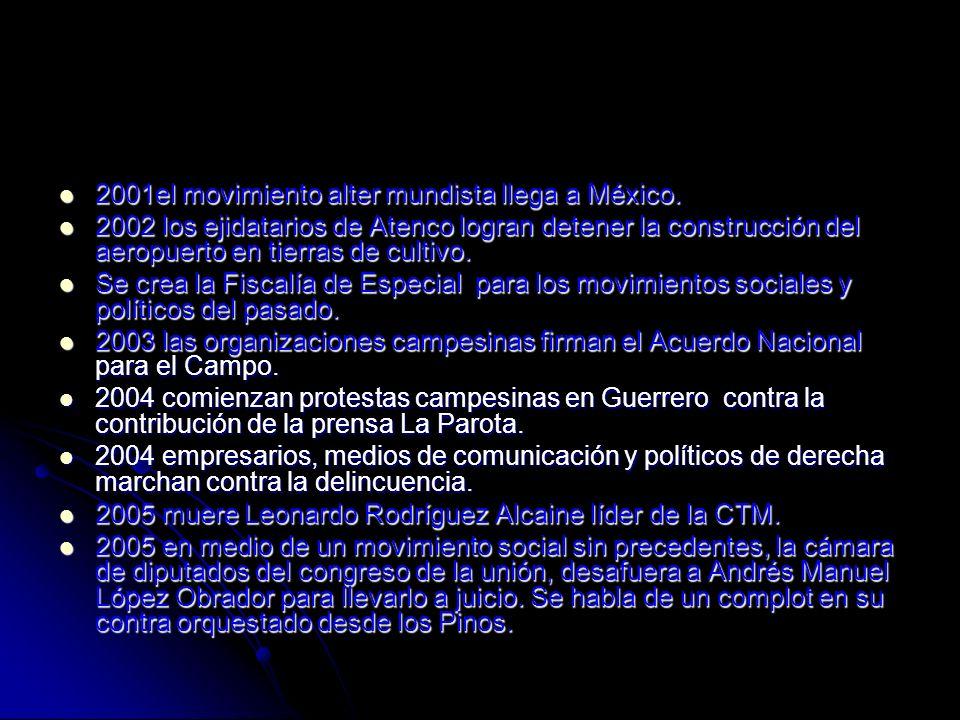 2001el movimiento alter mundista llega a México. 2001el movimiento alter mundista llega a México. 2002 los ejidatarios de Atenco logran detener la con
