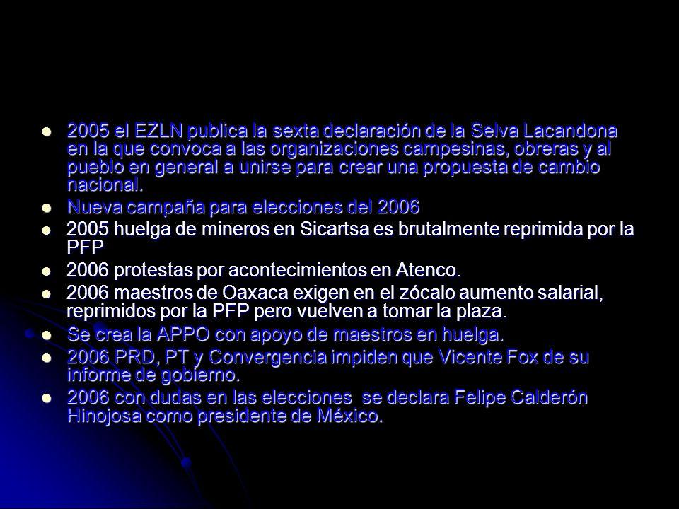 2005 el EZLN publica la sexta declaración de la Selva Lacandona en la que convoca a las organizaciones campesinas, obreras y al pueblo en general a un