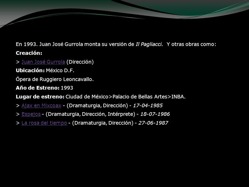 En 1993. Juan José Gurrola monta su versión de Il Pagliacci. Y otras obras como: Creación: > Juan José Gurrola (Dirección) Ubicación: México D.F. Óper