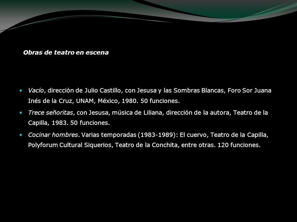 Obras de teatro en escena Vacío, dirección de Julio Castillo, con Jesusa y las Sombras Blancas, Foro Sor Juana Inés de la Cruz, UNAM, México, 1980. 50
