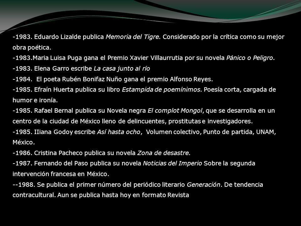 -1983. Eduardo Lizalde publica Memoria del Tigre. Considerado por la crítica como su mejor obra poética. -1983.Maria Luisa Puga gana el Premio Xavier