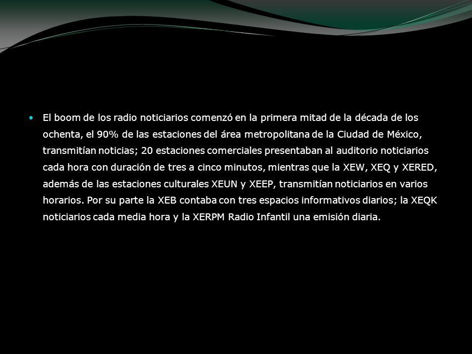 El boom de los radio noticiarios comenzó en la primera mitad de la década de los ochenta, el 90% de las estaciones del área metropolitana de la Ciudad
