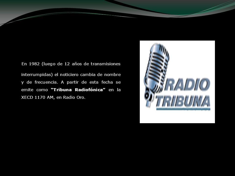En 1982 (luego de 12 años de transmisiones interrumpidas) el noticiero cambia de nombre y de frecuencia. A partir de esta fecha se emite como Tribuna