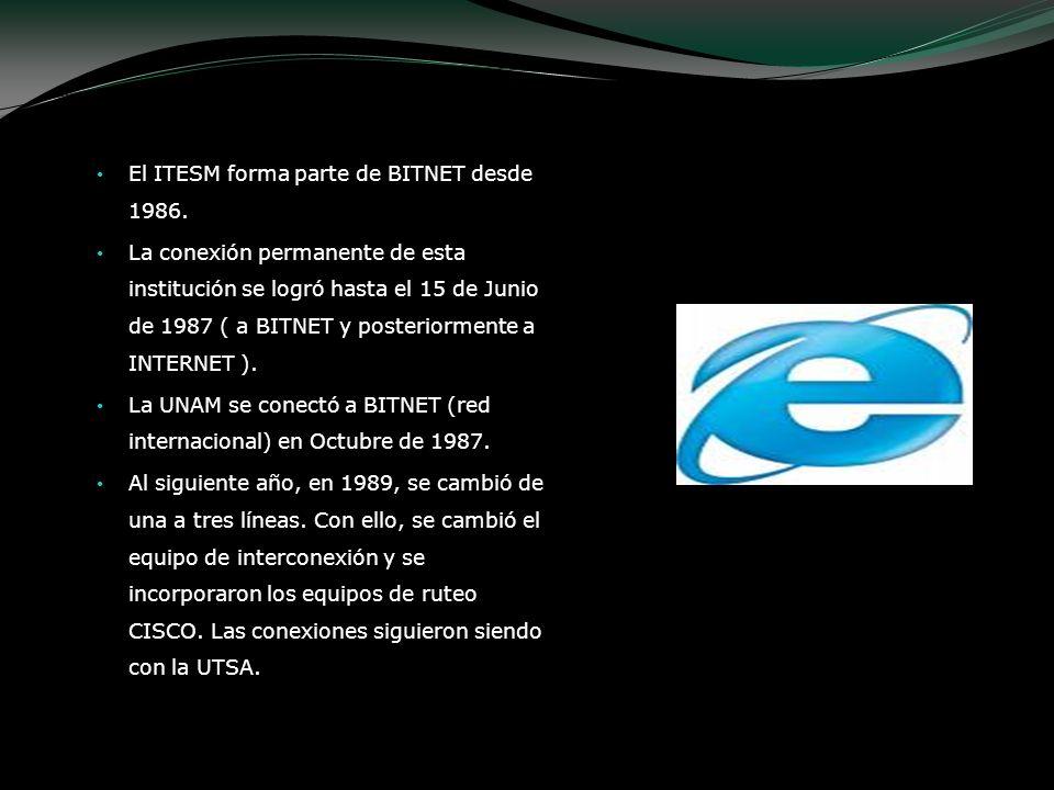 El ITESM forma parte de BITNET desde 1986. La conexión permanente de esta institución se logró hasta el 15 de Junio de 1987 ( a BITNET y posteriorment