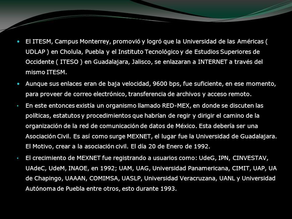 El ITESM, Campus Monterrey, promovió y logró que la Universidad de las Américas ( UDLAP ) en Cholula, Puebla y el Instituto Tecnológico y de Estudios