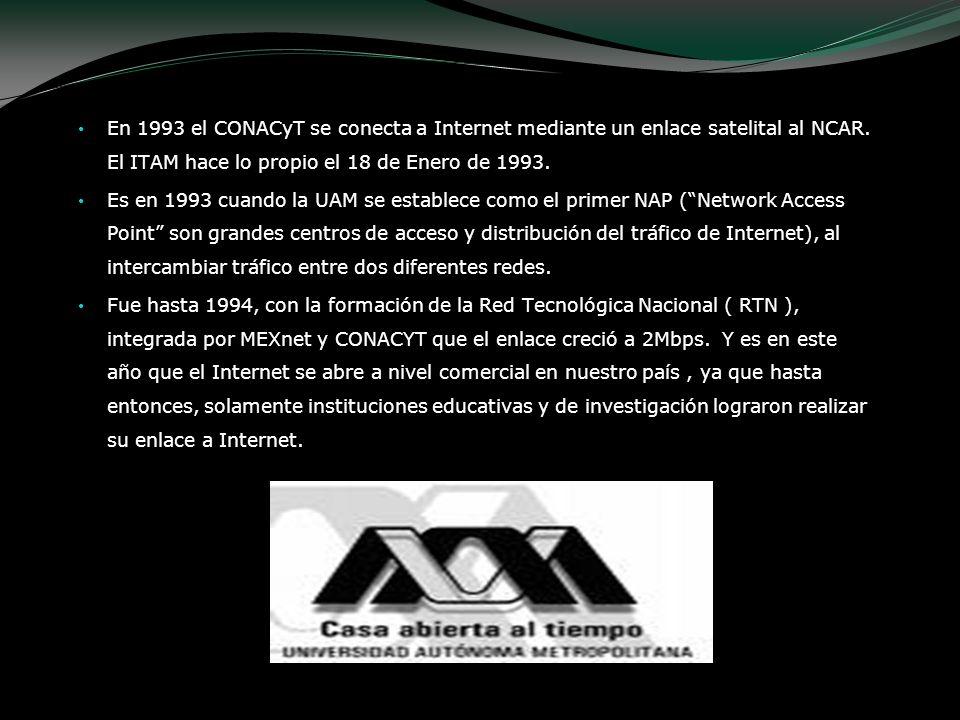 En 1993 el CONACyT se conecta a Internet mediante un enlace satelital al NCAR. El ITAM hace lo propio el 18 de Enero de 1993. Es en 1993 cuando la UAM