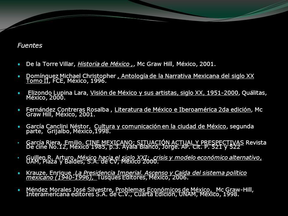 Fuentes De la Torre Villar, Historia de México,, Mc Graw Hill, México, 2001. Domínguez Michael Christopher, Antología de la Narrativa Mexicana del sig