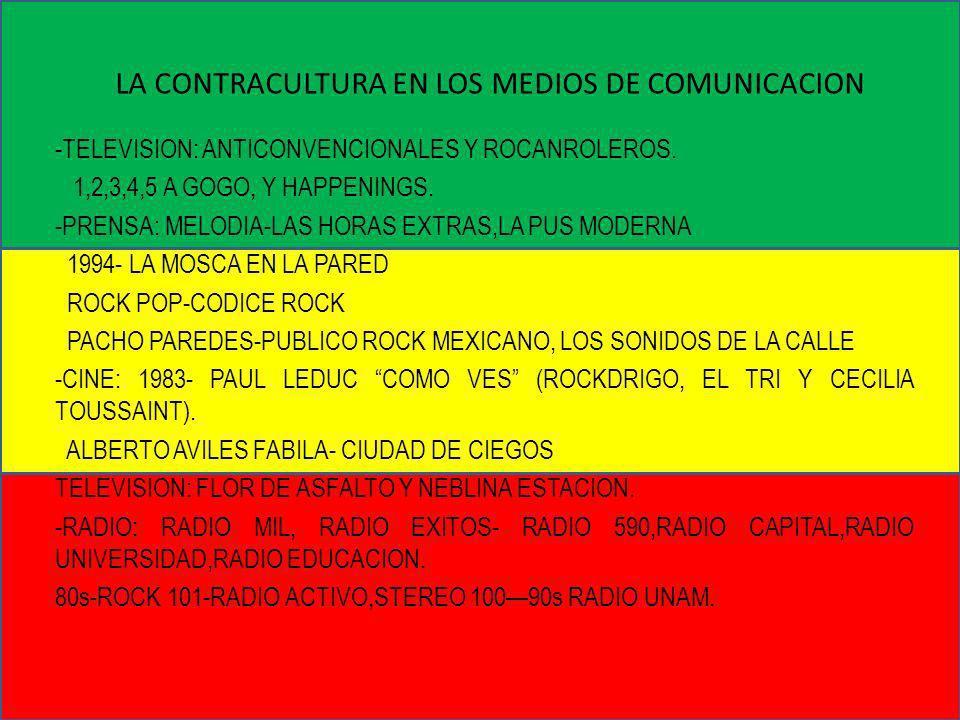 LA CONTRACULTURA EN LOS MEDIOS DE COMUNICACION -TELEVISION: ANTICONVENCIONALES Y ROCANROLEROS. 1,2,3,4,5 A GOGO, Y HAPPENINGS. -PRENSA: MELODIA-LAS HO