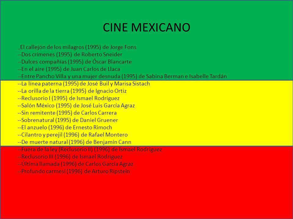 CINE MEXICANO -- El callejón de los milagros (1995) de Jorge Fons --Dos crímenes (1995) de Roberto Sneider --Dulces compañías (1995) de Óscar Blancart