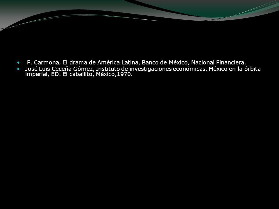Bibliografía F. Carmona, El drama de América Latina, Banco de México, Nacional Financiera. José Luis Ceceña Gómez, Instituto de investigaciones económ