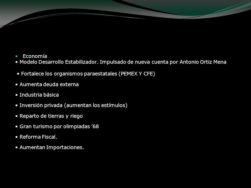 Gustavo Díaz Ordaz Economía Modelo Desarrollo Estabilizador. Impulsado de nueva cuenta por Antonio Ortiz Mena Fortalece los organismos paraestatales (