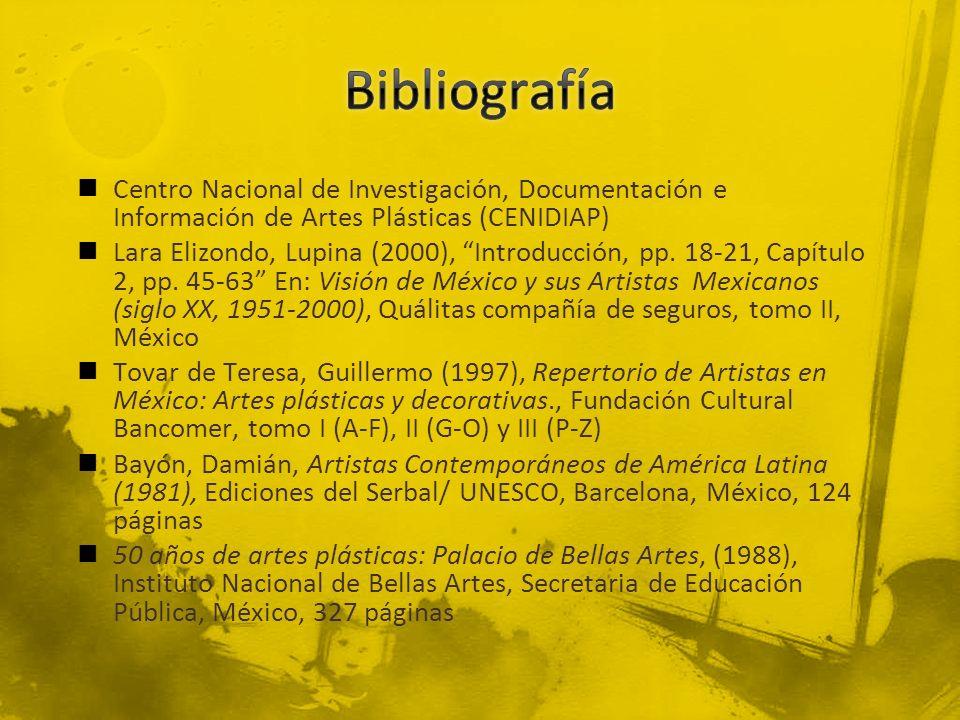 Centro Nacional de Investigación, Documentación e Información de Artes Plásticas (CENIDIAP) Lara Elizondo, Lupina (2000), Introducción, pp. 18-21, Cap
