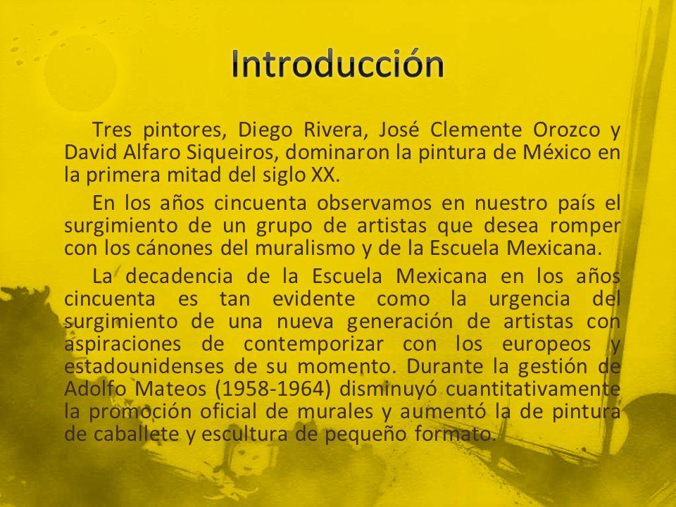 Tres pintores, Diego Rivera, José Clemente Orozco y David Alfaro Siqueiros, dominaron la pintura de México en la primera mitad del siglo XX. En los añ