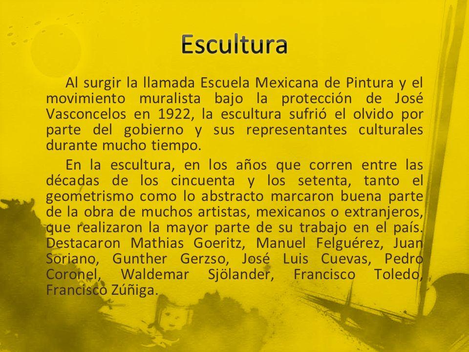 Al surgir la llamada Escuela Mexicana de Pintura y el movimiento muralista bajo la protección de José Vasconcelos en 1922, la escultura sufrió el olvi