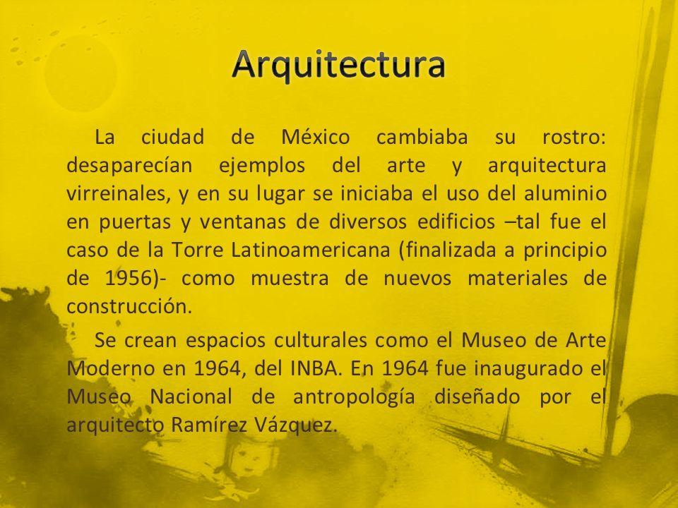 La ciudad de México cambiaba su rostro: desaparecían ejemplos del arte y arquitectura virreinales, y en su lugar se iniciaba el uso del aluminio en pu