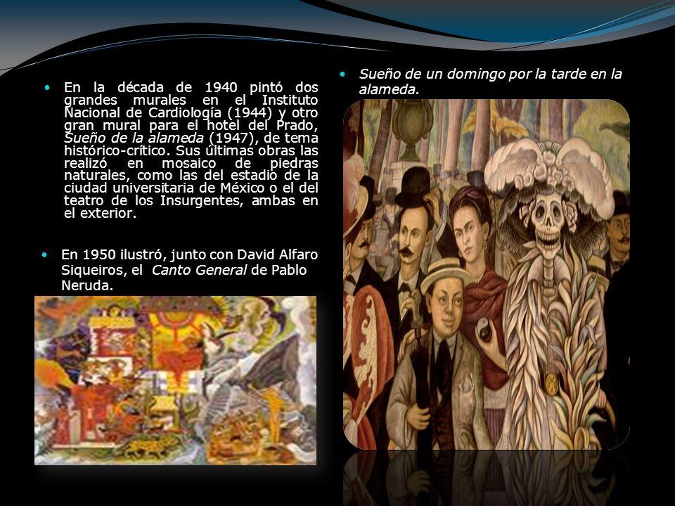 En la década de 1940 pintó dos grandes murales en el Instituto Nacional de Cardiología (1944) y otro gran mural para el hotel del Prado, Sueño de la a