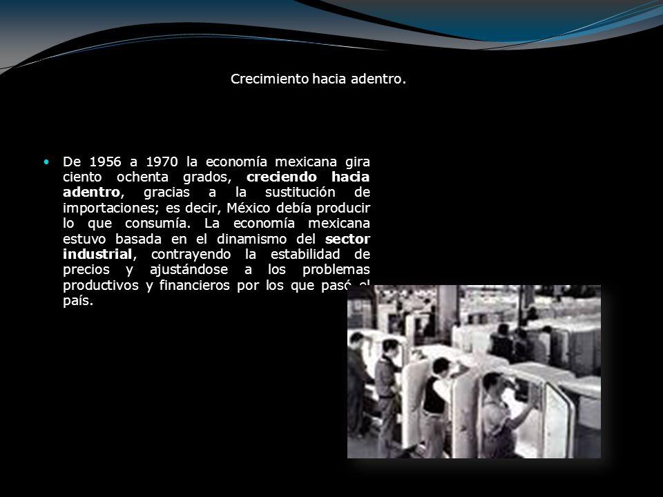 El crecimiento industrial en el período 1940 - 1970 mantuvo un ritmo de crecimiento sostenido, aunque basado en un mercado cautivo que le proporcionaba la política proteccionista diseñada por el Estado, situación que trajo como consecuencia el desarrollo de empresas sin competitividad con el exterior, que les impidió consolidarse a través de la exportación hacia mercados extranjeros; condición que impediría la creación de una verdadera industrialización moderna e independiente que contribuyera el desarrollo social del México pos revolucionario
