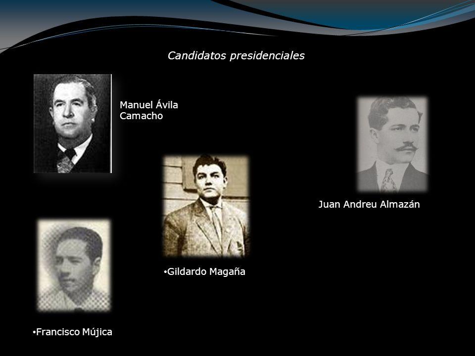 Manuel Ávila Camacho (1940 - 1946) Sin competencia, Manuel Ávila Camacho se convierte en el 54° presidente de la República Mexicana, asumiendo el cargo el 1 de diciembre de 1940.
