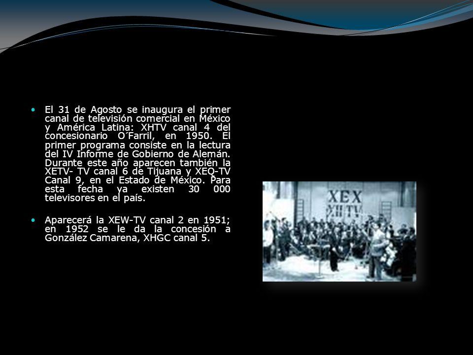 El 31 de Agosto se inaugura el primer canal de televisión comercial en México y América Latina: XHTV canal 4 del concesionario O´Farril, en 1950. El p
