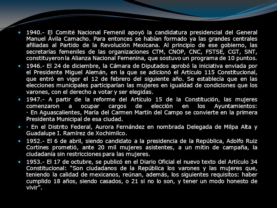 1940.- El Comité Nacional Femenil apoyó la candidatura presidencial del General Manuel Ávila Camacho. Para entonces se habían formado ya las grandes c