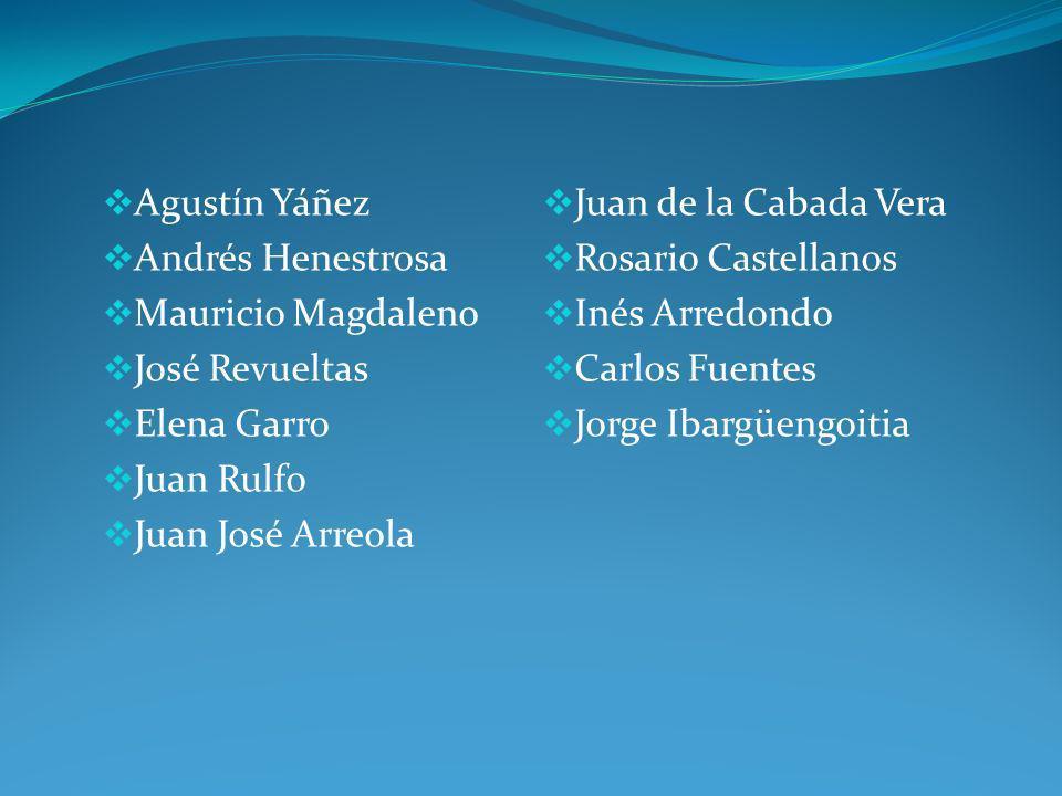 Agustín Yáñez Andrés Henestrosa Mauricio Magdaleno José Revueltas Elena Garro Juan Rulfo Juan José Arreola Juan de la Cabada Vera Rosario Castellanos